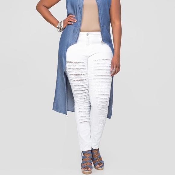 a4a09dfe3b97a Ashley Stewart Jeans | 14 16 Lace Lined Slash Skinny | Poshmark